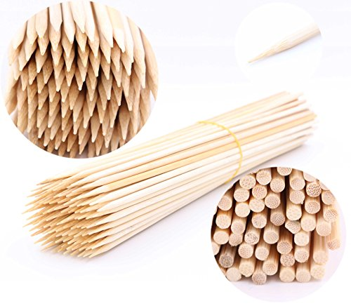 """LeBeila Bamboo Skewers 12 Inch 100PCS BBQ Skewers Bamboo Grill Shish Kabob Skewers 100% Natural Bamboo Sticks for Barbecue, Marshmallow, Fondue, Cooking, Grilling & Kabob (100, 11.8"""")"""