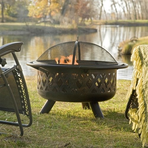 Svitlife 36-inch Bronze Fire Pit with Grill Grate Spark Screen Cover and Poker Pit Fire Cover Poker And Screen Wood Set Burning Includes Great Square