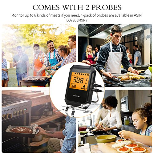 [2018 UPGRADED] WEINAS Bluetooth Meat Thermometer For Grilling,Wireless Remote Digital Cooking Thermometer With APP Smart Alarm Grill Thermometer for Kitchen Food Candy BBQ (Comes with 2 Probes)