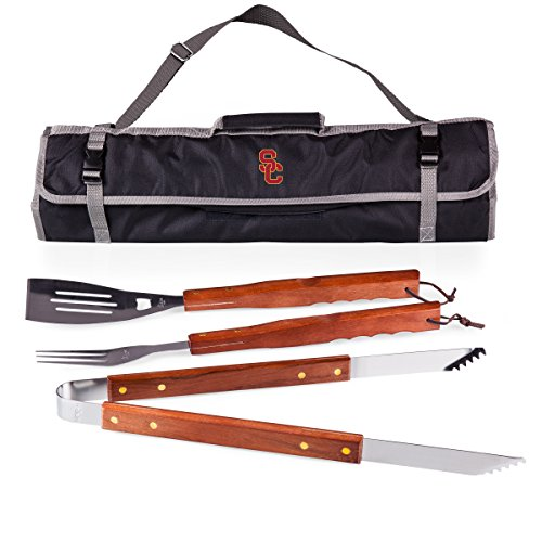 NCAA USC Trojans 3-Piece BBQ Tool Set With Tote