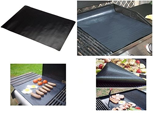 """2 BBQ Grill Mat, Extra Thick 200microns, Non-Stick, PFOA free, 40 x 50 cm (15 ¾"""" x 19 ½""""), reusable and reversible"""