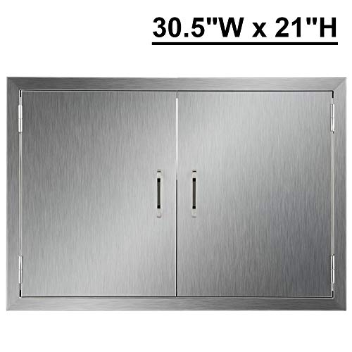 CO-Z Stainless Steel BBQ Door, 304 Brushed SS Double BBQ Access Doors for Outdoor Kitchen, Commercial BBQ Island, Grilling Station, Outside Cabinet, Barbeque Grill, Built-in (30.5″ W x 21″ H)