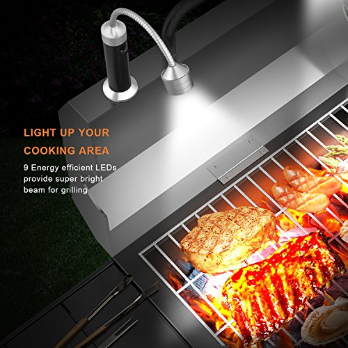 FIREOR Barbecue Grill Light Magnetic Base Super-Bright LED BBQ Lights – 360 Degree Flexible Gooseneck, Weather Resistant, Batteries Included – Pack of 2