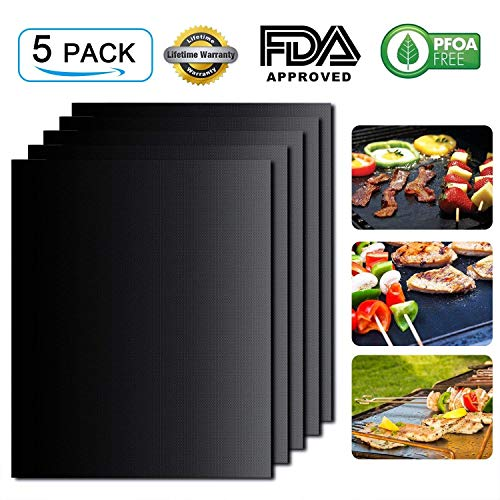 Maxzola BBQ Grill Mat Set of 5 Non-Stick BBQ Grill & Baking Mats – FDA Approved ,PFOA Free,Reusable and Easy to Clean – Works on Gas, Charcoal, Electric Grill (15.7 x 13 inch ) (Black, 5 Pack)