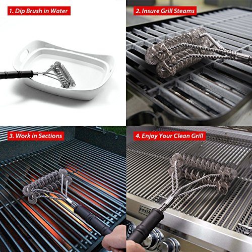 E-Kong Grill Brush Bristle Free – Safe and Rust Proof BBQ Grill Cleaning Brush – 18″ Stainless Steel Grill Cleaner – Best for Propane, Electric, Infrared, Ceramic, Iron, Gas & Porcelain Grates