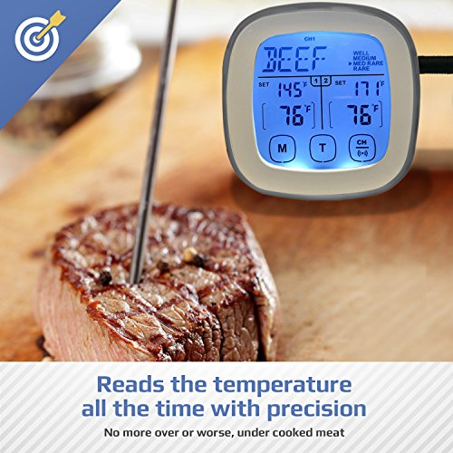 Dual Probe Instant Read Digital Meat Thermometer with Waterproof Stainless Steel Temperature Probes | For Cooking Food in Ovens, BBQ, Smoker and Grilling Red or White Meat, Turkey, Even Candy, Silver