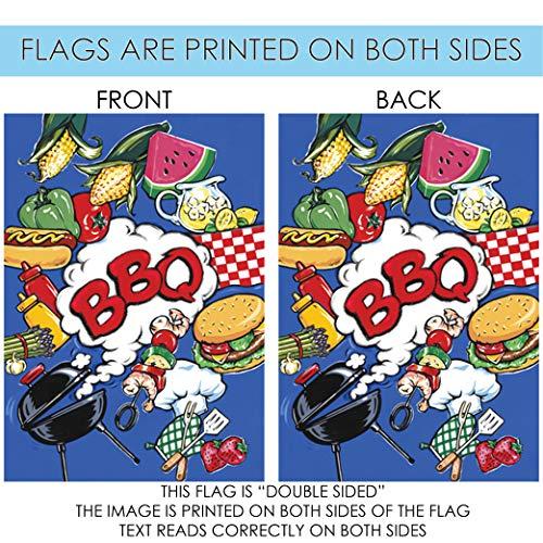 Toland Home Garden BBQ 12.5 x 18 Inch Decorative Summer Picnic Grill Barbecue Burger Melon Double Sided Garden Flag