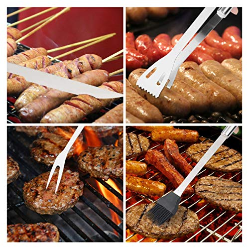 iNeibo BBQ Grill Tools, 6 Piece Barbecue Utensils Set Heavy Duty Stainless Steel Barbecue Grilling Utensils Grill Tools- Spatula,Tongs,Knife, Fork, Basting and Cleaning Brush with Storage case