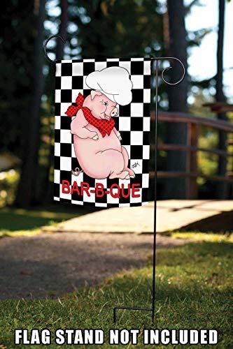 Toland Home Garden BBQ Pig 12.5 x 18 Inch Decorative Summer Barbecue Grill Chef Hat Garden Flag