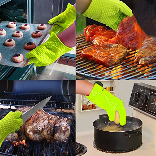 BBQ Grill Oven/Cooking Gloves-Meat Claws Set – Targher 5 in 1 BBQ Set with Silicone Gloves,Bear Claws, Meat Thermometer, Silicone Basting Brush, Non-stick BBQ Baking Mat – For Indoor & Outdoor Cooking