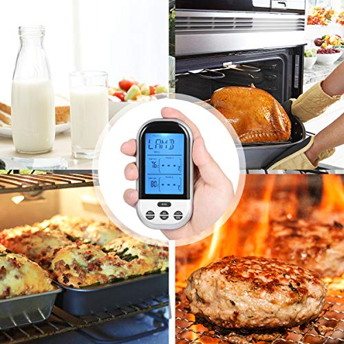 Wireless Meat Thermometer for Grilling – Digital LCD Cooking Food Thermometer with Dual Probes, Alarm Monitor for BBQ, Turkey, Baby Milk, Baking, Smoking, Kitchen, Indoor & Outdoor (Sliver)