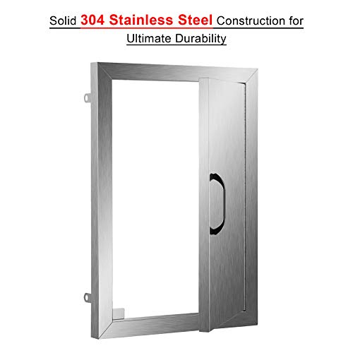 CO-Z Stainless Steel BBQ Door, 304 Brushed SS Single BBQ Access Doors for Outdoor Kitchen, Commercial BBQ Island, Grilling Station, Outside Cabinet, Barbeque Grill, Built-in (14″ W x 20″ H)