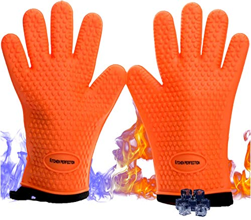 No.1 Set of Silicone Smoker Oven Gloves – Extreme Heat Resistant Washable Mitts for Safe Cooking Baking & Frying at The Kitchen,BBQ Pit & Grill. Superior Value Set + 3 Bonuses