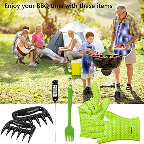Kwanan BBQ Gloves with Pull Pork Meat Claws, Meat Thermometer and BBQ Grill Brush- High Heat Resistance up to 425°F, Non-slip–6 in 1 Set BBQ Grill Accessories for Men& Women
