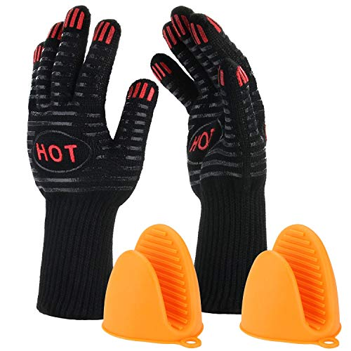 BBQ Grill Gloves, 932℉ Heat Resistant Grilling Gloves, 14″ Extremely Cooking Oven Mitts for Barbecue, Frying & Baking – Grill & Kitchen Accessories (1 Pair) – Silicone Pot Holder As Bonus (446℉)