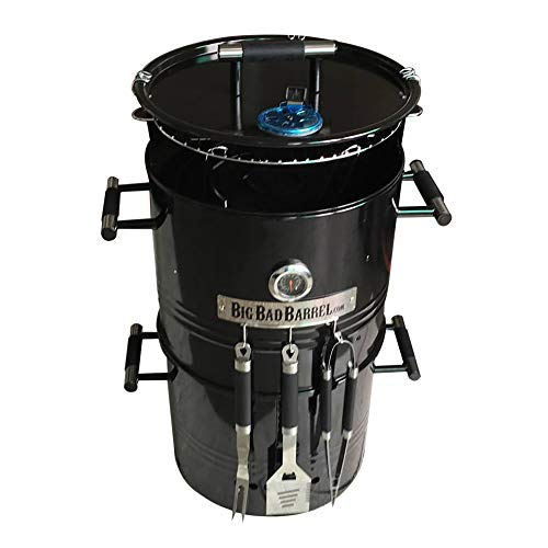 EasyGO Big Bad Barrel BBQ 5 in 1 Can be Used as a Smoker Grill, Pizza Oven, Table & Fire Pit.18-Inch Diameter-3 pcs Tool Set, 18″ D