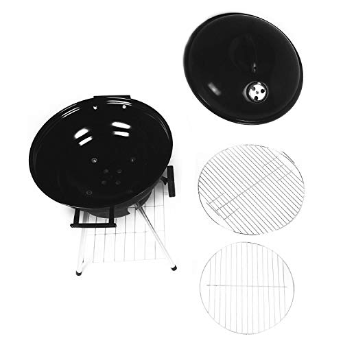 Portable Charcoal Grill, 18.5 Inch Barbecue Grill and Smoker Heat Control Round BBQ Kettle with 4 Detachable Stainless Steel Legs for Garden & Outdoor Cooking