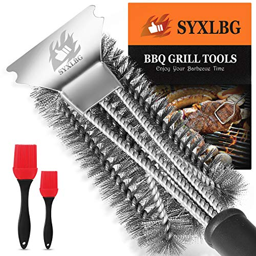Best BBQ Grill Brush and Scraper for Grill, Safe 18″ Stainless Steel Woven Wire 3 in 1 Bristles Grill Cleaning Brush for Weber Grill, Extra Strong BBQ Cleaner,PP Handle BBQ Brush for Grill