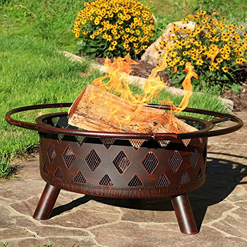 Sunnydaze Bronze Crossweave Outdoor Fire Pit with Spark Screen and Poker, Wood Burning Patio Firepit Bowl, 30 Inch