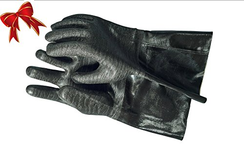 Artisan Griller BBQ Heat Resistant Textured Mitts for Cooking/Grilling /Kitchen & Barbecue – 14″ – Black Size 10/XL