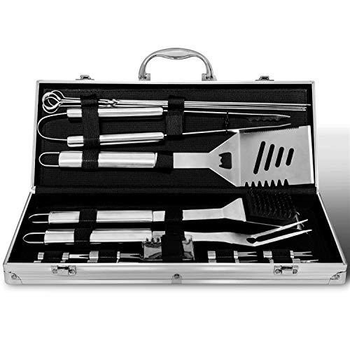 Albessel BBQ Grill Tool Set, 18 Pieces Stainless Steel Professional Barbecue Utensils Heavy Duty Accessories with Aluminium Case for Men, Outdoor Grilling, Cooking, Party, Camping