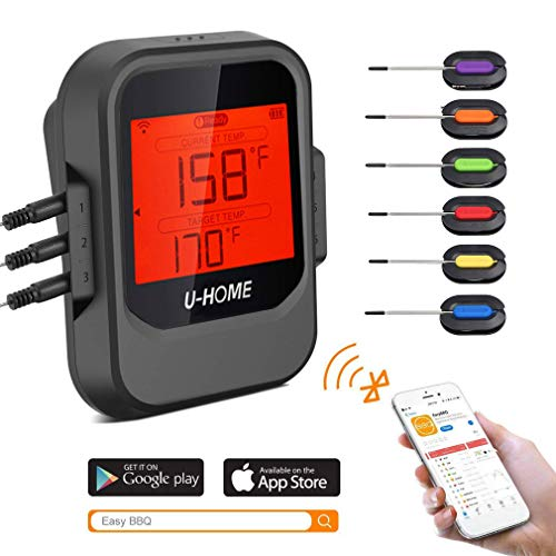 Meat Thermometer, Wireless Remote Digital Cooking Food Thermometer – Magnetic Smart Bluetooth Meat Thermometer with 6 Probe for Grilling Smoker BBQ Kitchen Baking Steak