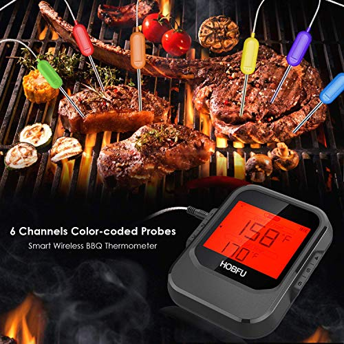 Bluetooth Meat Thermometer Smart Wireless Digital BBQ Thermometer with 6 Probes Free APP Alarm Instant Read LCD for Kitchen Cooking Turkey Smoker Oven Grilling