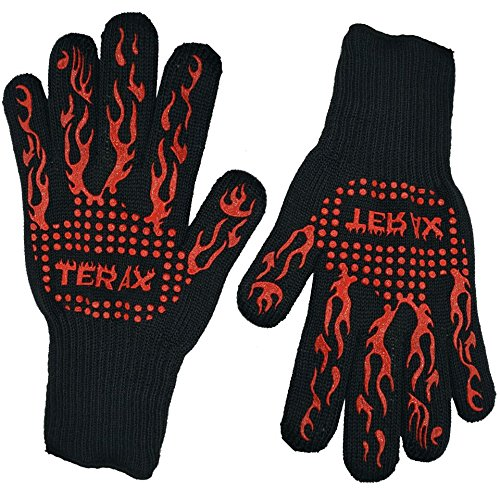 Terax Heat Resistant BBQ Gloves- Better Felixibility, Comfort and Protection Heat Resistance Glove- Ideal for Cooking, Baking and Grilling