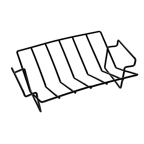 BBQ Porcelain Coated Steel Wire V Rib Rack Work for Big Green Egg, Primo,Vision, Kamado Ceramic Grills all Indoor Ovens Egg Accessories for Smoker Roasting True Rack Charcoal Cooking