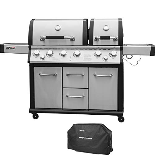 Royal Gourmet Mirage MG6001-R Two Split Lid 6-Burner Cabinet Propane Infrared Burner Gas Grill, Side Burner, with Cover, 96,000 BTU,Stainless Steel