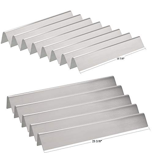 Hisencn Replacement Stainless Steel Flavorizer Bars, Heat Shield Plate Tent Deflector for Weber Platinum Series I and II, and Genesis 1000-5500 Gas Grills, 7538, Set of 13, 8 Short & 5 Long Bars