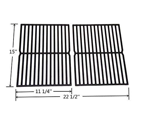 VICOOL HyG752B Cast Iron Grill Grates 7522 7523 7521 65904 65905 Replacement for Weber Spirit 200 Series, Spirit 500, Genesis Silver A Gas Grills, Set of 2 (15″ x 11.25″ Each)