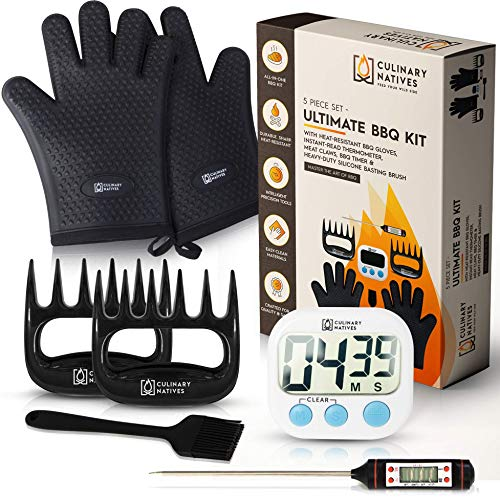 5-in-1 BBQ Accessories   Ultimate Flavor & Texture   Precision Tools   Heat Protection   No.1 Smoker Accessories for Pulled Pork   Insulated Grill Gloves, Instant Read Thermometer, Meat Claws & Timer