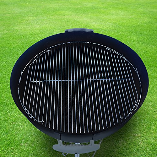 "Grillvana 22 Inch 201 Stainless Steel 4mm Hinged Grilling/Cooking Replacement Grate for Weber 22"" grill grate – For use in 22″ Weber Charcoal Grills – Cool Present for Him, Man Gift"
