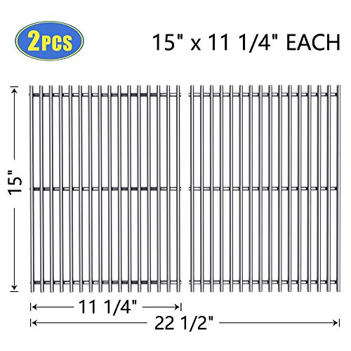X Home 7521 Grill Grates 15″ Replacement for Weber Spirit 200 E/S-210 E/S-200(Side-Mounted Control Panel), Genesis Silver A, Spirit 500, Stainless Steel 7522 Cooking Grid 15 inch(2 PCS, 15″ x 11 1/4″)