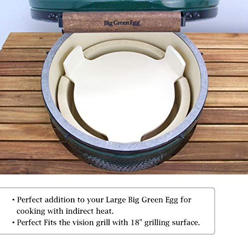 QQMaster Plate Setter Big Green Egg Accessories Heat Deflector Smoking Plate Pizza Stone with 3 Legs for Large Big Green Egg,18″ Kamado Grill,18″ Grilling Surface Grill Grate Extender-Extra Thick