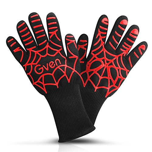 Extreme Heat Resistant Gloves, 932°F BBQ Accessories Fireproof Oven Mitts Cut Resistant for Grilling, Welding, Cutting, Baking