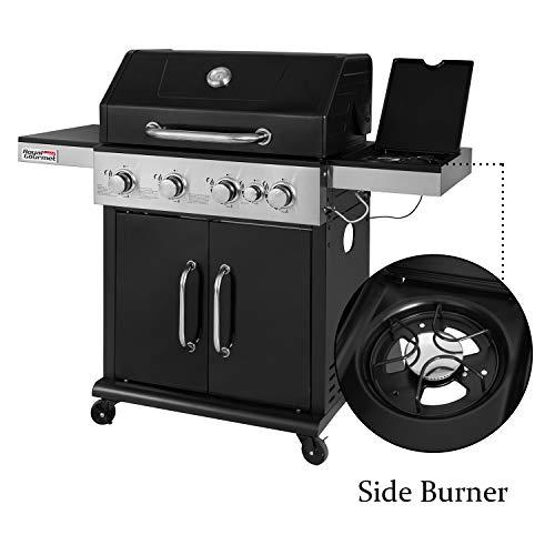 Royal Gourmet GG4201S 4-Burner Propane Gas Grill with Side Burner 57,000BTU, Black