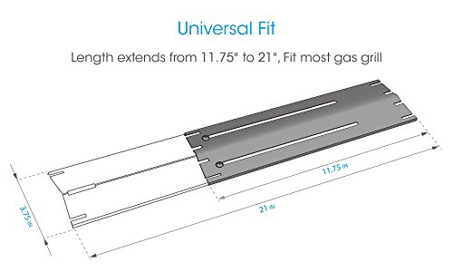 UNICOOK Universal Replacement Heavy Duty Adjustable Porcelain Steel Heat Plate Shield, Heat Tent, Flavorizer Bar, Burner Cover, Flame Tamer for Gas Grill, Extends from 11.75″ up to 21″ L, 4 Pack