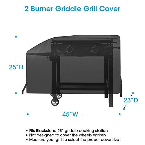 UNICOOK Heavy Duty Waterproof Grill Cover for Blackstone 28″ Griddle Cooking Station, Outdoor Flat Top Gas Grill Griddle Cover, Include Support Pole to Raise Up The Cover, No Water Pooling
