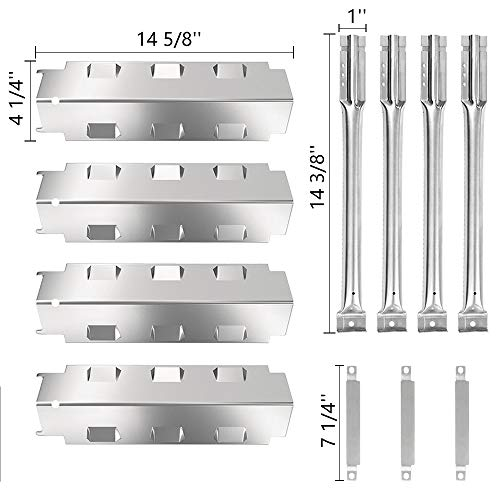 SHINESTAR Grill Replacement Parts for Charbroil 463441312, 463441513, 463440109B, 14-5/8″ Stainless Steel Heat Tent Shield Plate Flame Tamer + Crossover Carry Over Burner + Straight Burner Tube
