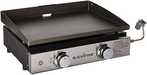 Blackstone Tabletop Grill – 22 Inch Portable Gas Griddle – Propane Fueled – 2 Adjustable Burners – Rear Grease Trap – For Outdoor Cooking While Camping, Tailgating or Picnicking – Black