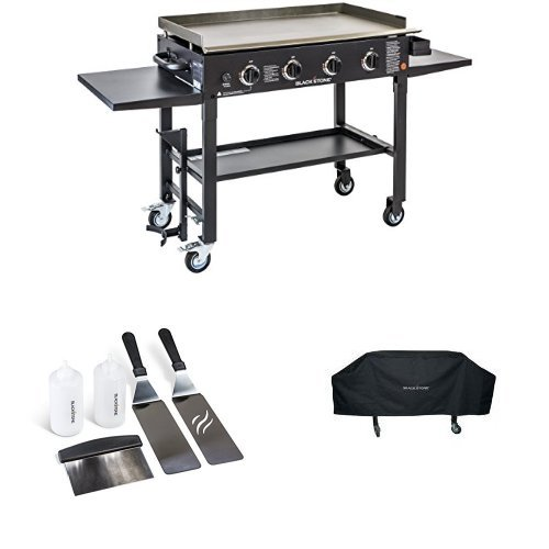 Blackstone 36 inch Outdoor Flat Top Gas Grill Griddle Station – 4-burner – Propane Fueled – Restaurant Grade – Professional Quality – With Cover and Accessory Kit