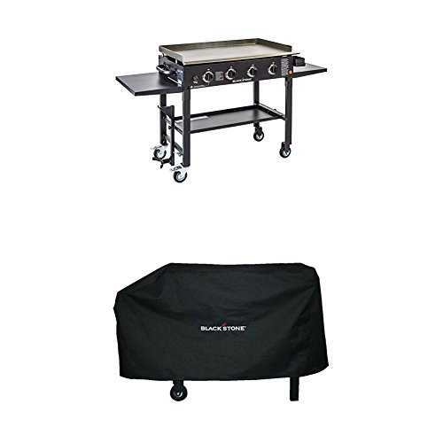 Blackstone 36 inch Outdoor Flat Top Gas Grill Griddle Station – 4-burner – Propane Fueled – Restaurant Grade – Professional Quality WITH Blackstone 28 Inch Grill and Griddle Cover (Fits Similar Sized Barbecue)
