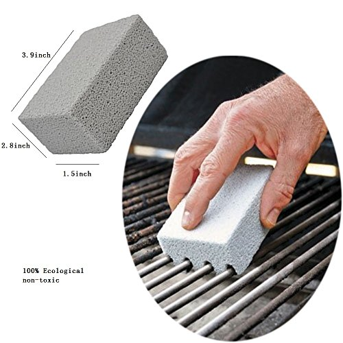Bozoa 4 Pack 100% Ecological Odorless Grilling Stone Cleaner/Grill Cleaning Brick,Removes Encrusted Greases Grill Block Reusable De-Scaling Stones