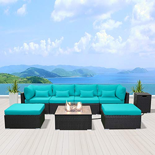 Modenzi Outdoor Sectional Patio Furniture with Propane Fire Pit Table Espresso Brown Wicker Resin Garden Conversation Sofa Set (C7 Sofa Square Fire Pit, Turquoise)