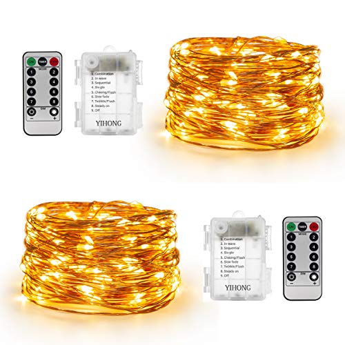 YIHONG Set of 2 Fairy String Lights Battery Operated -16.5ft 50 LEDs  Twinkle Firefly Lights with Timer Remote Control – Copper Wire- Warm White