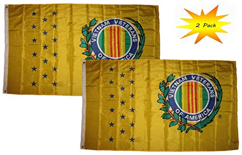 ALBATROS 3 ft x 5 ft 3×5 Set (2 Pack) Yellow Vietnam Veteran Vet Flag Banner for Home and Parades, Official Party, All Weather Indoors Outdoors