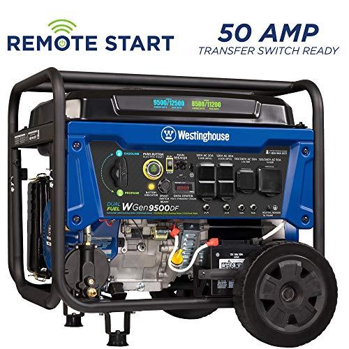 Westinghouse WGen9500DF Dual Fuel Generator-9500 Rated 12500 Peak Watts-Gas or Propane Powered-Electric Start Portable Generator, Blue