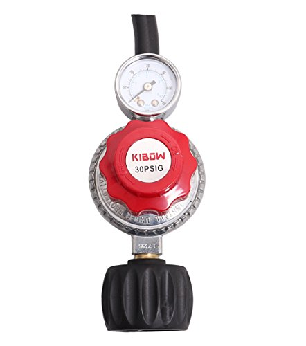 KIBOW 0~30 PSIG Type 1(QCC1) Adjustable High Pressure Propane Regulator w/0~60PSI Gas Flow Indicator for Forge/Foundry